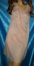 Sexy Vintage Enka Perlon Spitzen Unterkleid Gr. 48 apricot Negligee  (B621a)