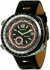 Tegrov worldtimer Aviation Automatikuhr esfera negra reloj Hombre