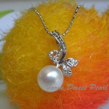 Genuine 9mm AAA White Pearl Pendant Necklace Flower Cultured Freshwater #50