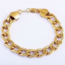 Vintage Mens Cuban Curb mystic Chain Bracelet 10mm  Wide Yellow Gold Plated