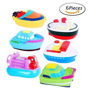 6Pcs Bath Toys Bathtime Soft Rubber Floating Boat Squirting for Toddlers & Kids