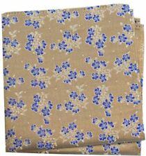 David Van Hagen Mens Small Flowers Silk Pocket Square - Tan