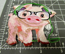 Cute baby Pig with Headphones on, iron on Embroidered patch, great collectible