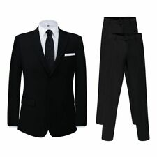 vidaXL Men's Two Piece Business Suit with Extra Pants Black Size 56 Formal