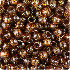 500 Root Beer Medium Brown Sparkle 9x6mm Barrel Pony Beads Made in the USA