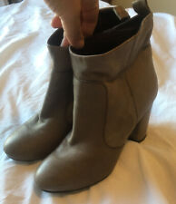 Ladies Dune Grey Leather Ankle Boots Size 4