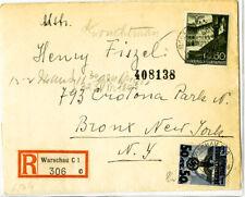 Poland Stamps Rare Registered Censored Cover to New York