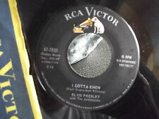 ELVIS 45 ON BLACK RCA LABEL I GOTTA KNOW / ARE YOU LONESOME TONIGHT W/ PAPER SLE