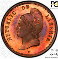 FINEST @ NGC & PCGS PR66 RD TONED UBER-COOL-GEM 1890 PATTERN 2 CENT LIBERIA