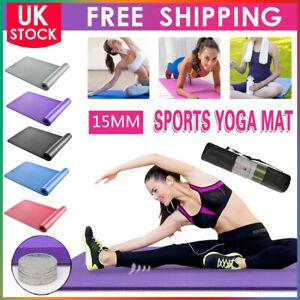 Extra Thick Yoga Mat 15mm Non Slip Exercise Pilates Gym Picnic Camping Straps UK