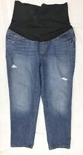 ANN TAYLOR LOFT Maternity Jeans 14 Distressed Denim Boyfriend Fit Over Belly Fit