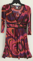 "Vintage Flora Kung silk dress-8-empire waist-v-neck-purple/orange/red-""Flora"""