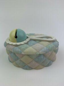Hand Painted Unisex Baby Rattler Trinket Keepsake Box Vintage