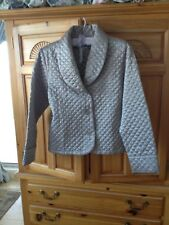 Womens Quilted Silver Jacket Size Small by Jillian Jones Intimates