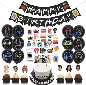 FRIENDS TV SHOW BANNER BALLOONS CAKE/Cupcake Topper STICKER PACKAGE PARTY