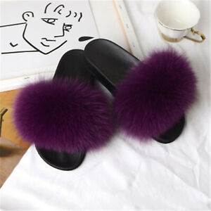 Womens' Real Fox Fur Slides Indoor Outdoor Slider Slippers Sandals Holiday Shoes