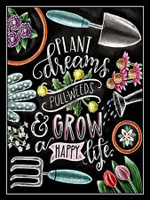 METAL VINTAGE SHABBY-CHIC TIN PLANT DREAMS GROW HAPPY LIFE WALL PLAQUE