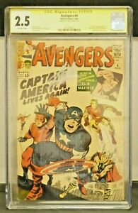 Avengers #4 Marvel Comics Signed by Stan Lee CGC Graded 2.5