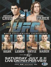 RYAN BADER DOMINICK CRUZ SIGNED AUTO'D MINI POSTER BAS COA UFC 132 CHAMPION