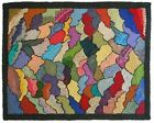 EARLY 20TH C VINT AMERICAN FOLK ART WOOL HOOKED RUG, W/ART DECO/GEO-ABSTRACT DES
