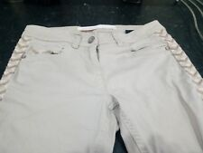 Next Embroidered Panel Skinny Jeans Size 10R Neutral Stone Beige