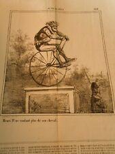 Caricature 1868 - Henri IV sur un Vélocipède ne voulant plus son cheval
