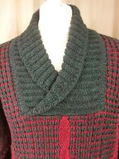 """Austin Reed Green Red Pure Wool Cowl Neck Chunky Cable Knit Jumper C42"""""""