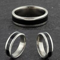 4mm Stainless Steel Silver & Black Wedding Band - Mens & Womens Ring K to V