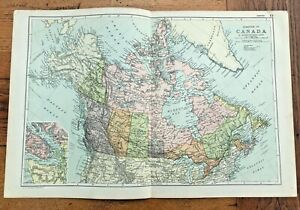 1890 large double page map - g.w. bacon the strand london . dominion of canada