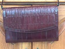 Vintage Leather of the Sea Dark Brown Eel Skin Shoulder Handbag Purse Clutch