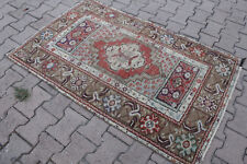 "Vintage Handmade Turkish Oushak Wool Red Area Rug Carpet 60""x37"""