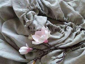 Linen Fitted sheet natural Flax fitted sheet linen bedding bed sheet stonewashed