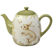 40 fl oz Ceramic Teapot with Bunny Flowers Art Easter Gift Assorted Lead Free
