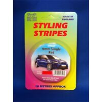 6mm Single Red Stripe Car Decal - Pin 10 Tape Length Metres Approx Castle