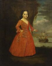 Fine 17th Century English Old Master Portrait Naval Girl Antique Oil Painting