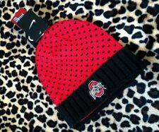 NEW NIKE OHIO STATE KNIT BEANIE HAT STOCKING CAP Red Black Dots