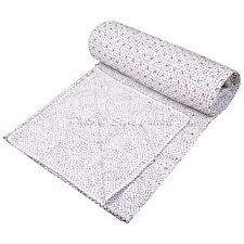 Indian Vintage Quilt Fine Kantha Quilt Bedspread Bedding Queen White Bed Cover