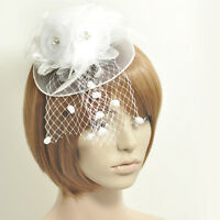 women hair accessory clip handmade feather net fascinator party fancy dress gift