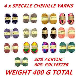 4x100g Chenille Yarn Knitting Yarn Craft Assorted Multi-Color Yarn Craft Project