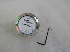 ROYAL ENFIELD  LOGO WHITE DIAL BRASS STEM NUT /HANDLE T NUT WATCH CLOCK NEW