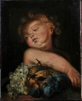 Unknown artist: Portrait of a putto with fruit still life, 19th century