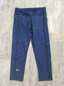 UNDER ARMOUR Heat Gear Compression black blue YOGA PANTS Capri Leggings XS