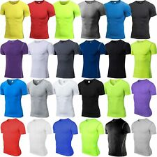 NEW Men T-Shirt Under Basic Layer Fitness Short Sleeve Compression Stretch Tops