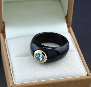 Jade Blautopas Ring in 14kt/585-Gelbgold Wert 650 Euro Neu