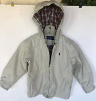 Polo RALPH LAUREN Boys Small 10 Tan Beige Jacket Kids Coat khaki Hooded Plaid