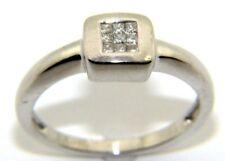 Mujer 9ct 9ct Oro Blanco Anillo De Compromiso Diamante Talla RU N 1/2