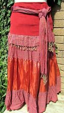 Per Una Ladies Beautiful Red Mix Long Skirt Fully Lined With Fringe Size 10R