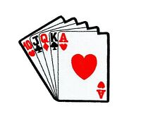 Patch backpack poker straight flush card playing biker motorcycle vintage funny