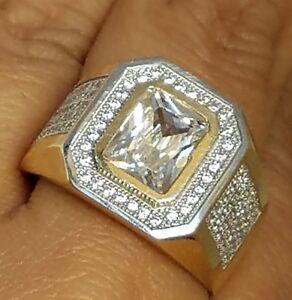 6 Carat big Man's 14k solid yellow Gold man made diamond  Ring S 10.5