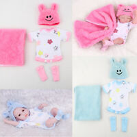 10-11''Reborn Doll Outfit Clothes Set Romper+blanket+Hat Dolls DIY Clothing Suit
